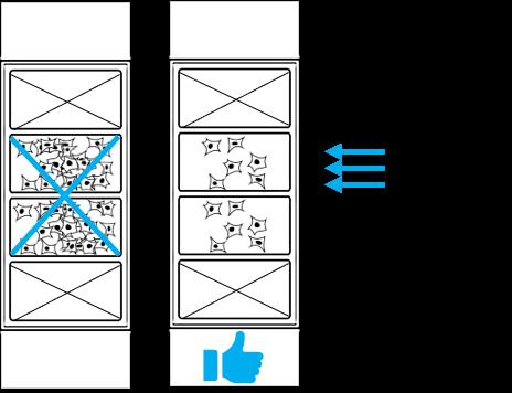 Cartoon of high vs low plating density.